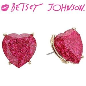 Betsey Johnson Not Your Babe Pink Heart Earrings
